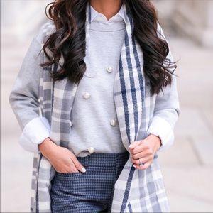 BANANA REPUBLIC. Gray Pearl Embellished Sweater